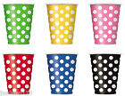 6 Polka Dots Spots 12oz Paper Cups Party Supplies Birthday Tableware 6 Colours