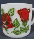 Federal Milkglass Roses Coffee Mug Cup Vintage F Shield 8oz