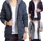 Fad Mens Handsome Wool Knitted Warm Zip Cardigan Sweater Hooded jacket coat HGUS