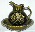 1968 Vintage McCoy Pottery Pitcher & Wash Basin Large Avocado Green Turkey