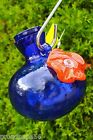 HUMMINGBIRD HAND BLOWN GLASS FEEDER ONE SIP BLUE BY KITRAS ART GLASS CANADA