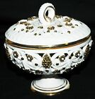 Vintage With With Gold Italy Candy Dish With Lid Floral Grapes 3121