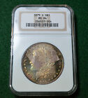 1879-S MORGAN DOLLAR SUPERB RAINBOW ROLL-END TONED - CHOICE UNC NGC MS64 - 3s56
