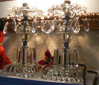 Antique Pair of Elegant Crystal Electric Candlestick Lamps Free US Shipping