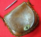 Vintage beautiful hand made Tooled Brown Leather - 1970 s Ladies Hand Bag