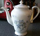 Vintage EUROPA Wild Flower PORCELAIN Coffee Pot & Lid~Gold Rim;Blue Flowers~RARE
