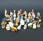 Antique French Feves Miniature Creche 32 Santons, Nativity Character Figurines