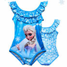 Frozen elsa snowflake double neckline girl siwmsuit 5-6 years