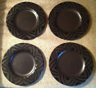 LOT of 4 Pfaltzgraff Midnight Sun Black Lunch / Salad Plates 8 inch Plate EUC