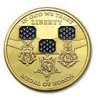 1 Oz Statue of Liberty Medal Of Honor Pure .999 24k Fine Gold Clad Bullion Coin