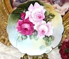 LIMOGES HAND PAINTED MAGENTA PINK ROSES FRENCH PORCELAIN CHARGER c.1891