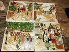 4 Antique Pilkington Tile Hand painted Wall Art Hanging from England SIGNED