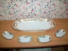 Nippon Set of 4 Salts and Relish Dish Hand Painted Gold Design With Blue