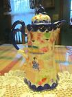 Antique Vintage Japanese Porcelain Coffee Chocolate Pot Hand Painted Japan - LUD