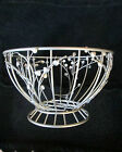 Silvertoned Metal Footed Fruit Bowl/Serving Basket w/Pretty Heart-Shaped Leaves