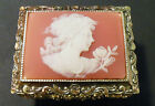 Vintage Sankyo Cameo Victorian Lady with Rose Music Trinket Jewelry Box Japan