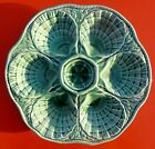 Antique French  Majolica Oyster Plate EMERALD GREEN Sarreguemines signed
