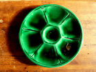 Antique French  Majolica Oyster Plate EMERALD GREEN VALLAURIS signed 1930's