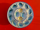 VINTAGE BLUE FRENCH MAJOLICA OYSTER PLATE  PLATTER St CLEMENT MOTHER OF PEARL