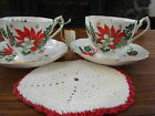 Queen Anne Noel Christmas Cup & Saucer Poinsettia and Holly