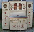 Antique Sweetheart Hoosier Cupboard Set Hoosier & 2 Side Chimney Cupboards