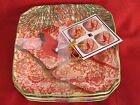 222 FIFTH HOLIDAY DECOUPAGE TOILE CHRISTMAS BIRD CARDINAL APPETIZER PLATES 4 NEW