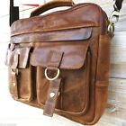 GENUINE Leather HANDBag iPad mini woman man cross body 2 3 retro laptop A4 bag