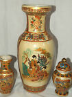 LOT GINGER JAR 2 BUD VASES LARGE VASE WOMEN ASIAN BIRDS GOLD HAND PAINTED ACCENT