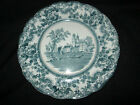 TOGO ANTIQUE FLOW BLUE PLATE RARE PEACOCK BLUE GREEN WINKLE ENGLAND