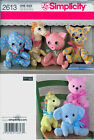 Simplicity Pattern 2613 for Stuffed Animals-Elephant, Giraffe, Pig, Cat