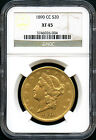 1890-CC Gold Double Eagle Type 3 $20 Liberty NGC XF-45 Very Rare!