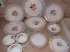 HALLMARK CANONSBURG PINK ROSE 33 pc DINNER PLATE SAUCER CUP BOWL SALAD LOT GOLD