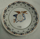 French Faience Revolutionary Plate 1790 , Nevers Angel with a flute
