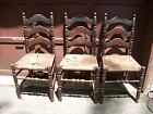 LOT 3 ANTIQUE RUSH CANE STRAW BOTTOM LADDER SLAT BACK CHAIRS-NEED TLC