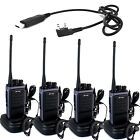 4*Pofung T88 UHF 400-480MHz 2000mAh Monitor Scan Walkie Talkie Transceiver+Cable