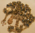 French  Rosary ~ St Thereses ~ Pale Blue Quartz Crystal ~Antique  Filigree