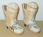 Two Vintage Hand-painted Ceramic Cowboy Boot Vases from Occupied Japan