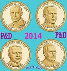 2014 P&D PRESIDENTIAL DOLLARS SET HARDING COOLIDGE HOOVER ROOSEVELT UNCIRCULATED