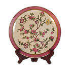 Vintage Country Style Plate with Pink & Yellow flowers, Crackled glaze 27.5cm