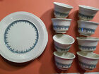 Vintage Ivory Shenango China Plates and Cups Blue and Ivory