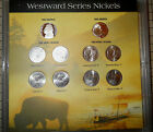 WESTWARD JOURNEY SERIES JEFFERSON NICKELS 10 COINS P-D-S IN DISPLAY LENS