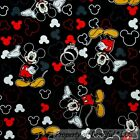 BonEful FABRIC FQ Cotton Quilt Black Red BW Gray Yellow Disney Mickey Mouse Dot
