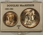 1947 S Phillipines Douglass MacArthur Silver 2 Coin Set One Peso Fifty Centavos