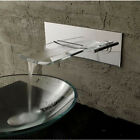 Waterfall Glass Spout Bathroom Sink Faucet Wall Mounted Chrome Vessel Mixer Tap