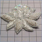 CRYSTAL IRIS PEARL FLOWER SEQUIN BEADED APPLIQUE 0234 A