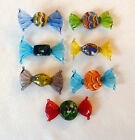 SET OF 7 MURANO ITALIAN  HAND BLOWN GLASS WRAPPED CANDY-MADE  IN ITALY