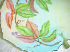 Vintage 1959 Hand Painted Signed Leaf Shape Candy Lemon Server Dish Vine Berry