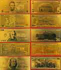 US DOLLAR BANKNOTE GOLD 24Kt FINE COLLECTABLE BILLS 1 set(5) Uncirculated .99999