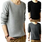 Mens Autumn Cable Knit Pullover Jumper Crew Neck Solid Knitwear Sweater Tops