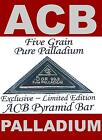 ACB PALLADIUM Pyramid BAR WITH CERTIFICATE 999 PURE Pd 5Grain BULLION MINTED,$.